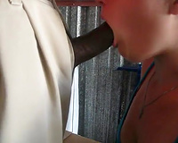 Light haired excited a bit bulky white nympho gives good BJ to BBC