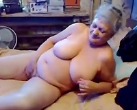 Grey haired wild and avid old slut was teasing her older love tunnel