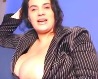 Busty dilettante dark brown office slutty wife has hot cleavage