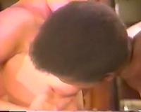 Caucasian dark brown mommy copulates dark stud on top of the bar counter