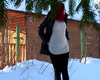 Sweet pale skin redhead Russian white wife on the street squats and makes water