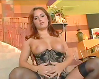 Sizzling hot redhead from Europe blows large penis with excitement