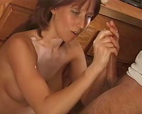 Redhead euro older wench blows dick to smack sticky ball batter