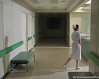 Gorgeous Japanese nurse exposes her bumpers and furry cookie