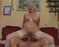 Granny in white nylons acquires her old cunt fucked shaking her bug whoppers