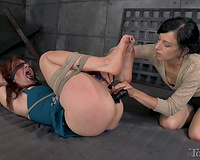 Redhead voluptuous white cheating wife on the floor helpless and fastened