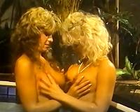 Two shaggy retro wench deepthroats sluggish weenie in the baths