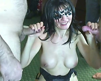 Masked dark brown mamma goes through multiple chubby knobs