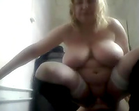 Mature Russian mom and her bulky partner playing on web camera