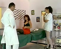 Chubby redhead milf and hot nurse play with one fellow