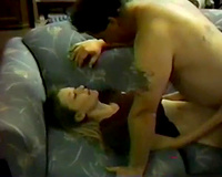 Beautiful white young babe eats and rides her older boyfriend