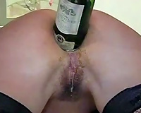 Dirty like mud whore of my buddy takes giant bottle in her butthole