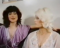European golden-haired babe in vintage lesbo softcore with her ally