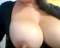 Spoiled lusty and hot cam brunette hair whore sucked her own boobies