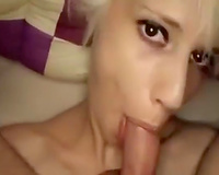 Perverted blondie knows how to give a admirable oral-stimulation
