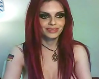 Red haired lascivious clown faced cam whore fucked with glass bottle