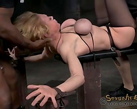 Strict bondage and BBC exposure for breasty blond whore