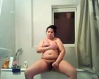 Really obese dark head with saggy boobies masturbated her unattractive snatch