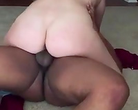 Pale skinned hoe riding large dong in a cowgirl position