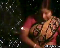 Mature chunky Indian wife flashes her large bazookas