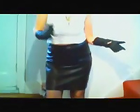 My aged voluptuous dirty slut wife in her leather petticoat and gloves