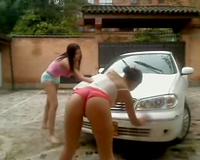 Spoiled Latin girls getting wet and smutty washing car