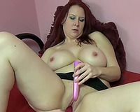 Adorable and curvaceous white white wife masturbates with dildos