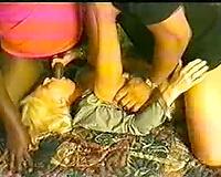 Hoo thugs demolishing a golden-haired