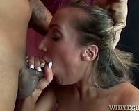 Richelle Ryan goes down on a hard dark weenie