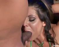 Slut sucks dark 10-Pounder and some other copulates her