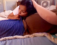 Sensual oral-job from sexy non-professional Indian wifey on webcam