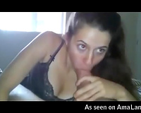 Buxom all natural dark brown in underware gives titfuck and blowjob