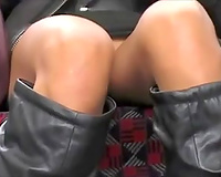 Horny Asian business lady's upskirt at the underground