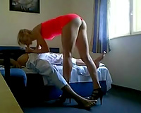 Blonde hooker sucks my dick and bonks me in the cowgirl pose