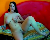 Nice large breasted brunette hair sexpot was teasing herself to arouse me