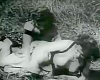 Prehistoric black-white outdoors sex scene and office fuck