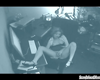 Hidden web camera in the office catches lewd slutwife in solo act