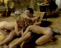 Mind-blowing FFM threesome retro porn scene featuring torrid blond sweethearts