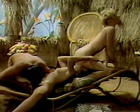 Mind-blowing FFM threesome retro porn scene featuring torrid blond sweethearts