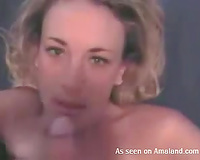 Blonde hottie gives head and waits patiently for facial