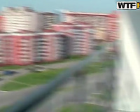 Magnificent brunette hair Russian legal age teenager gives head on the balcony