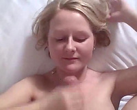 Adorable UK wife gives me handjob and takes large facial