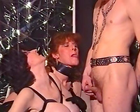 Busty milf doxies ride one ramrod in BDSM freaky three-some sex