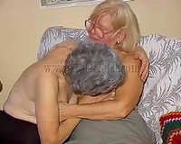 Two old lesbian babes take up with the tongue every other's pleasing slits wit great enthusiasm