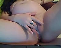 Pregnant Bulgarian ally masturbating in front of camera