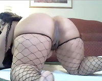 Curly non-professional Latina big beautiful woman in fishnet nylons wanted to have a fun wild solo