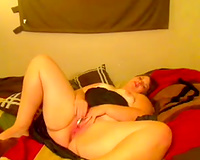 Real white non-professional PAWG housewife masturbating on cam