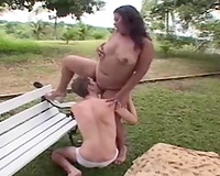 Banging my friend's hawt big beautiful woman girl's chocolate hole in the public park