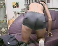 Short-haired brunette hair german gal masturbates on livecam