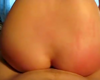 Gorgeous round ass of my hottie jiggles when this babe rides me on top